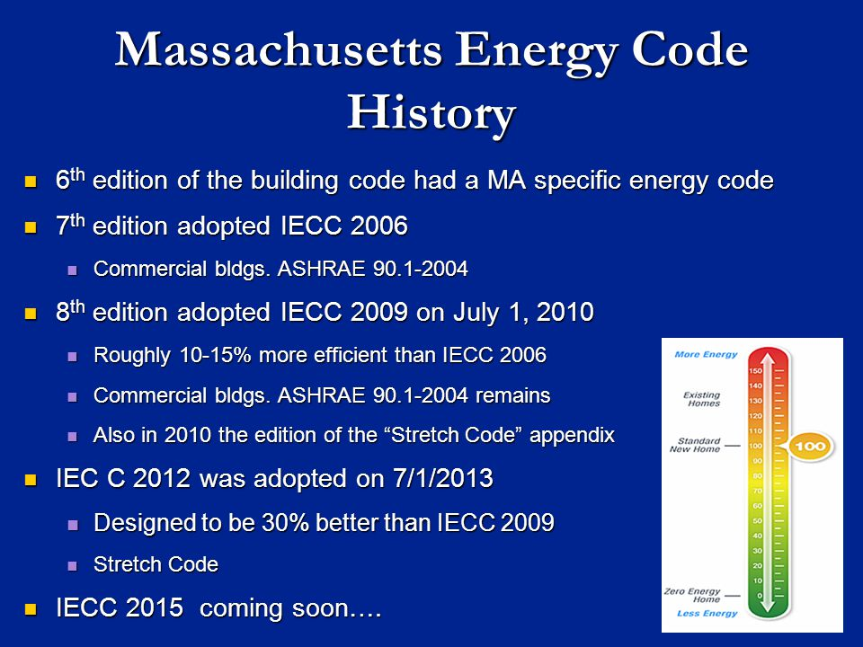 Massachusetts Energy Code History 6 th edition of the building code had a MA specific energy code 6 th edition of the building code had a MA specific energy code 7 th edition adopted IECC 2006 7 th edition adopted IECC 2006 Commercial bldgs.