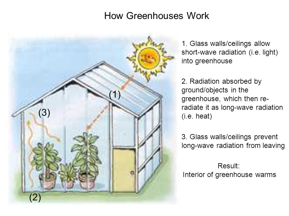 How Greenhouses Work Result: Interior of greenhouse warms 1.