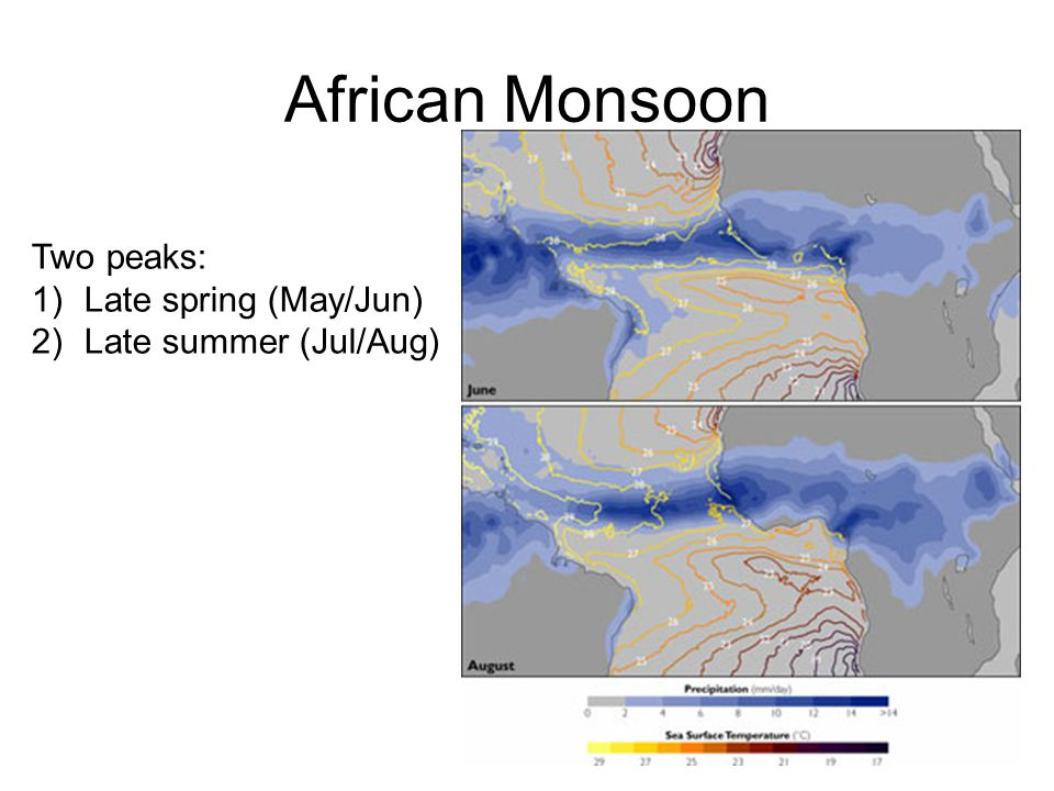 African Monsoon Two peaks: 1)Late spring (May/Jun) 2)Late summer (Jul/Aug)