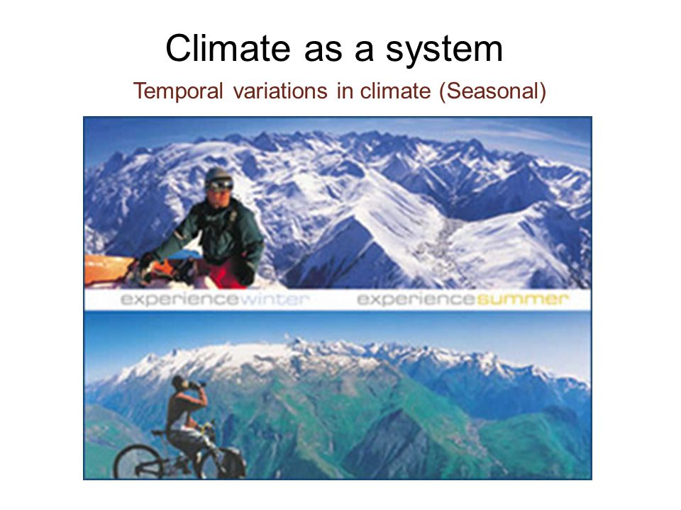 Temporal variations in climate (Seasonal) Climate as a system