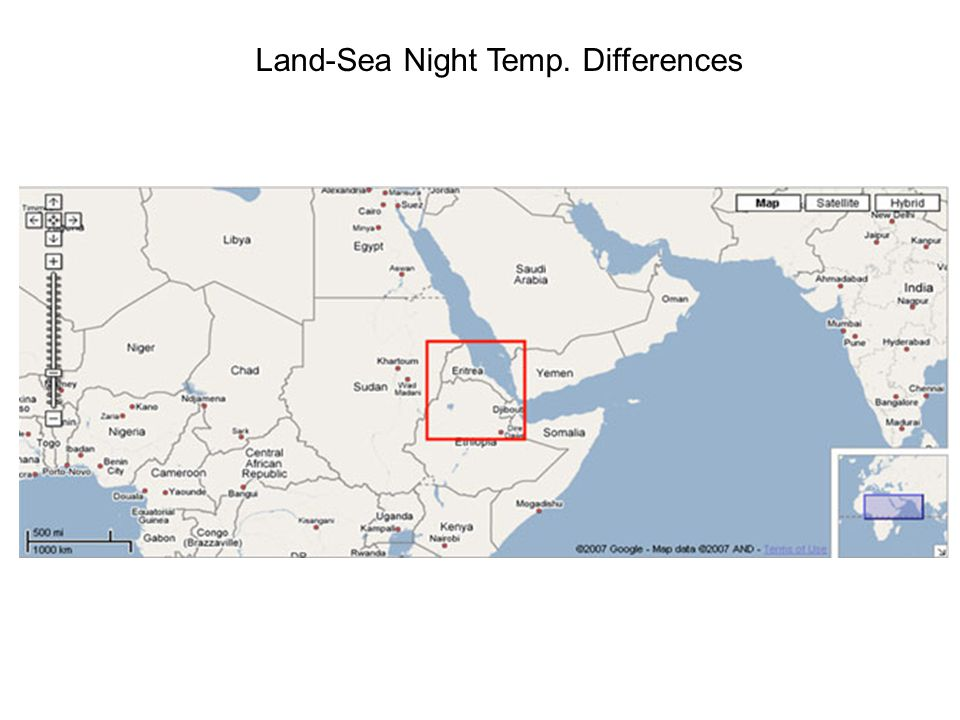Land-Sea Night Temp. Differences