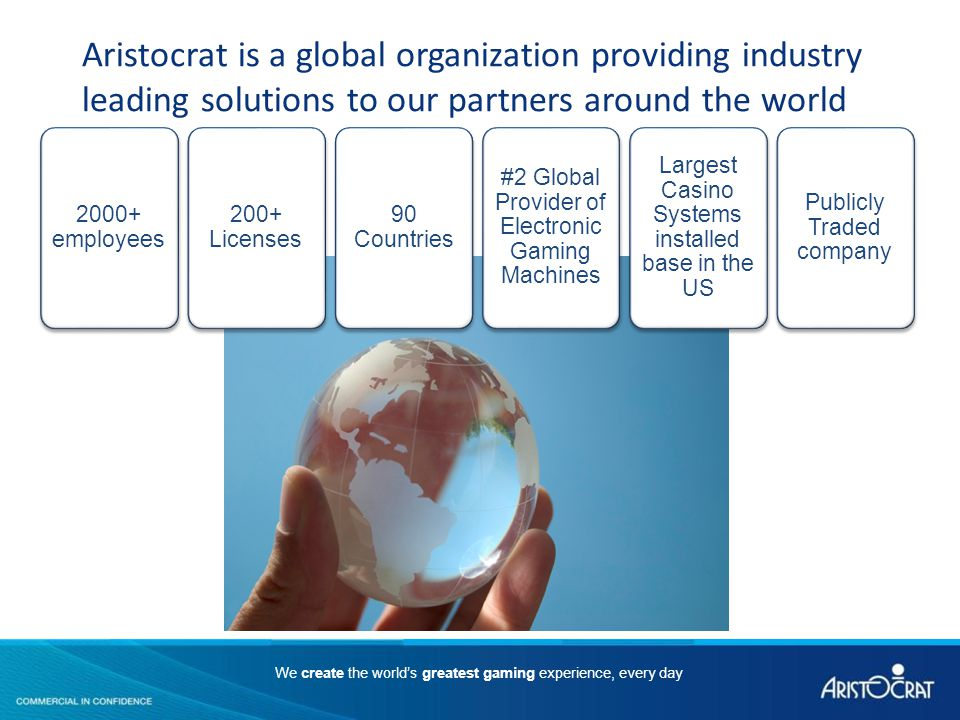 Aristocrat is a global organization providing industry leading solutions to our partners around the world 2000+ employees 200+ Licenses 90 Countries #2 Global Provider of Electronic Gaming Machines Largest Casino Systems installed base in the US Publicly Traded company