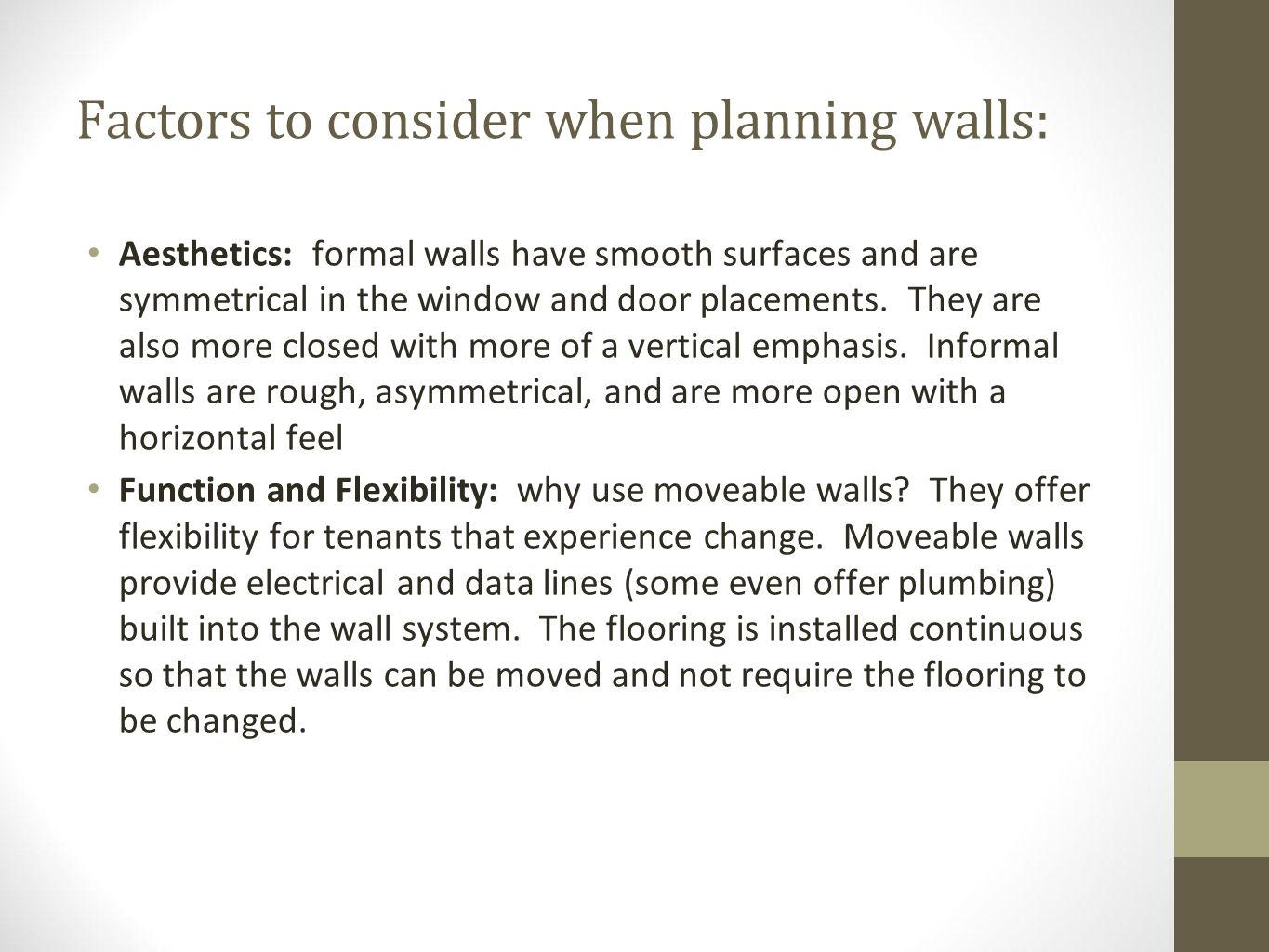 Three Classifications of Ceilings Suspended from the structure Acoustical tiles tin Attached directly to the structure Gypsum board Plaster Tongue and groove wood Structure and ceiling finish are the same thing.
