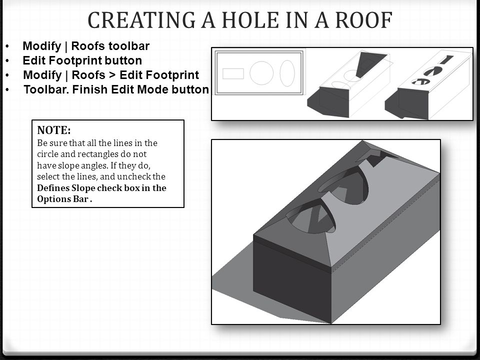 CREATING A HOLE IN A ROOF NOTE: Be sure that all the lines in the circle and rectangles do not have slope angles.