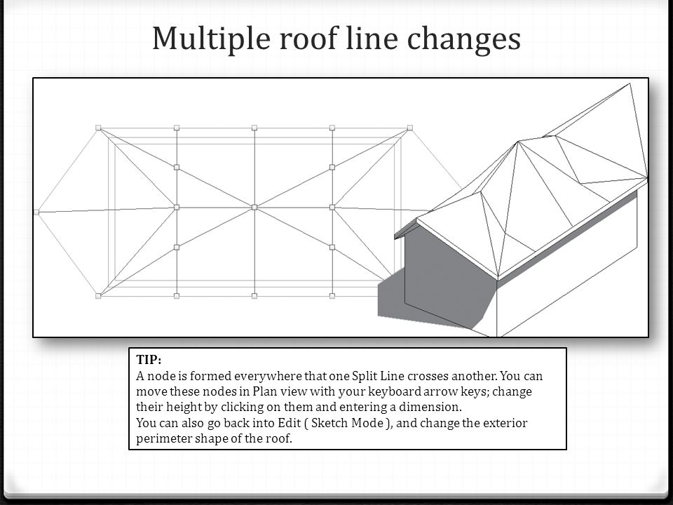 Multiple roof line changes TIP: A node is formed everywhere that one Split Line crosses another.
