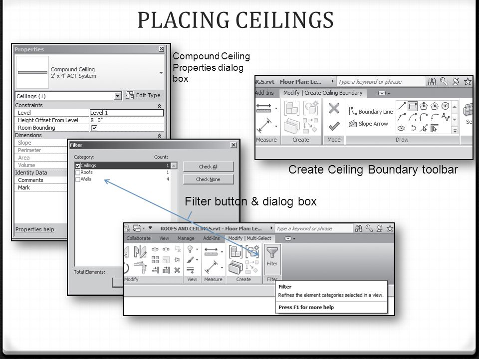 PLACING CEILINGS Compound Ceiling Properties dialog box Filter button & dialog box Create Ceiling Boundary toolbar