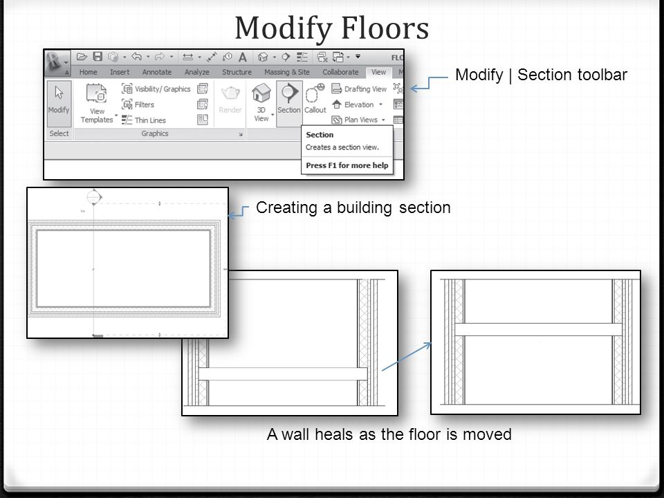 Modify Floors Modify | Section toolbar A wall heals as the floor is moved Creating a building section