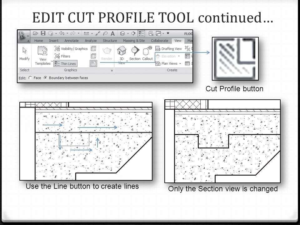 EDIT CUT PROFILE TOOL continued… Cut Profile button Only the Section view is changed Use the Line button to create lines