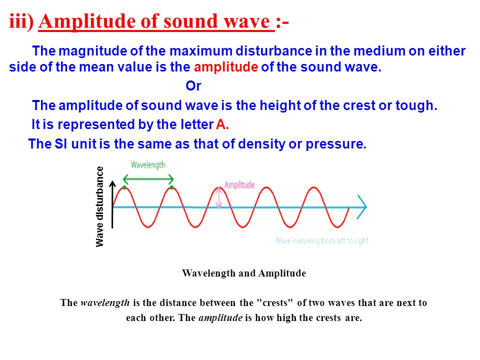 iii) Amplitude of sound wave :- The magnitude of the maximum disturbance in the medium on either side of the mean value is the amplitude of the sound