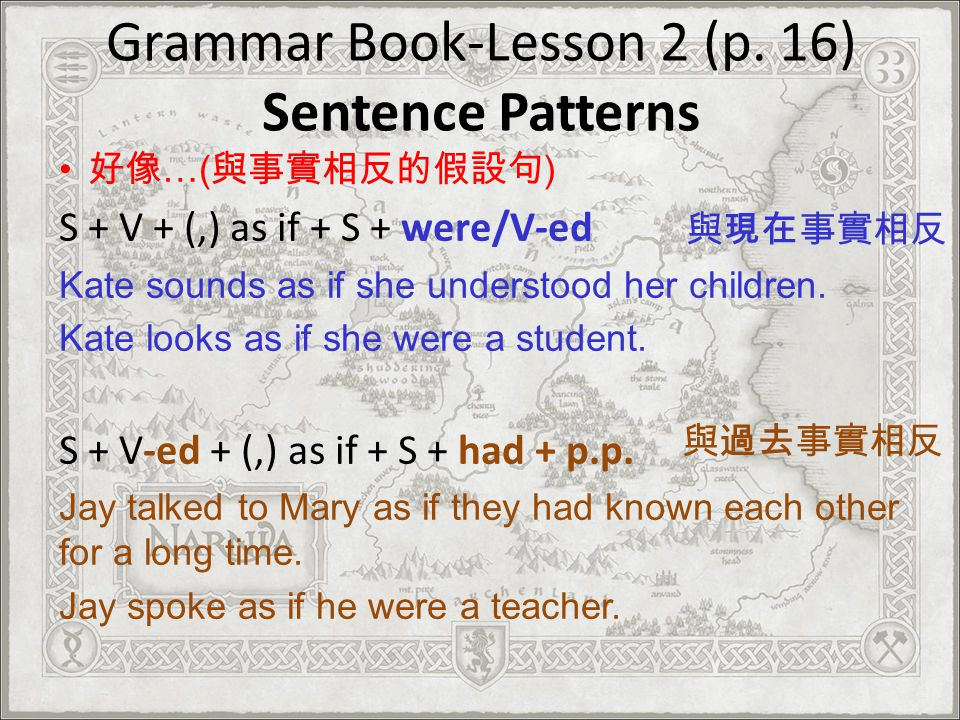 Grammar Book-Lesson 2 (p. 16) Sentence Patterns …( ) S + V + (,) as if + S + were/V-ed Kate sounds as if she understood her children. Kate looks as if