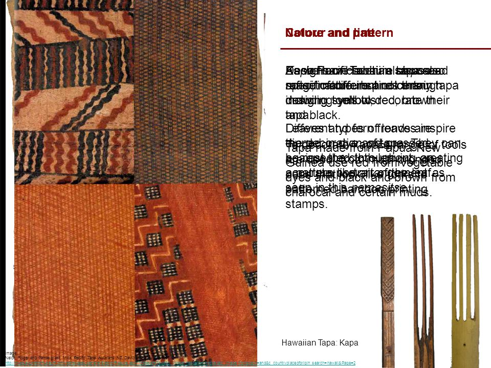 Nature and pattern Tapa made from Eromanga, Vanuatu: Nemasitse As we have seen in siapo and masi, nature inspires many tapa design. Different types of