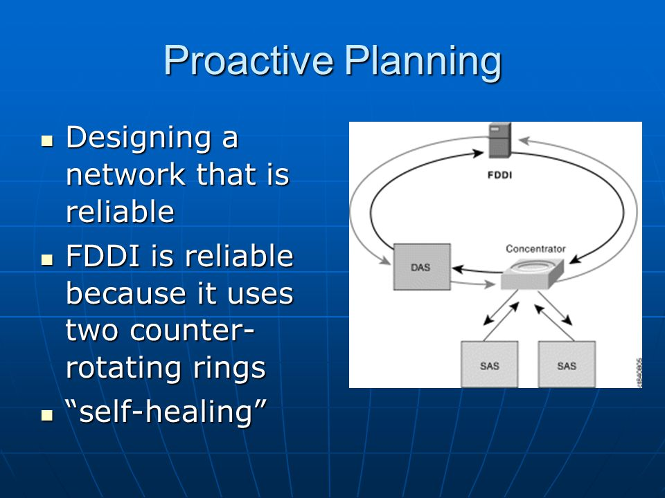 Proactive Planning Designing a network that is reliable Designing a network that is reliable FDDI is reliable because it uses two counter- rotating ri