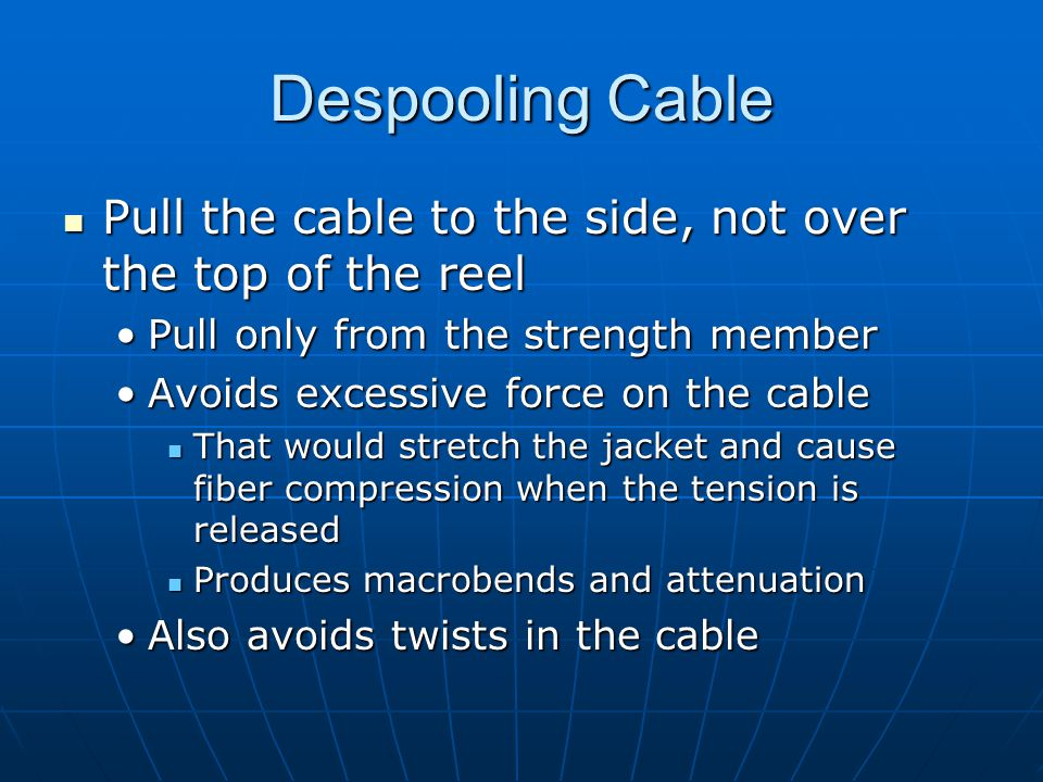 Microbends (not in textbook) Microscopic bends in the fiber that occur mainly when the fiber is cabled.