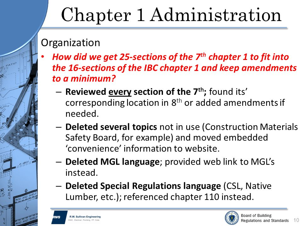 Board of Building Regulations and Standards Chapter 1 Administration Organization How did we get 25-sections of the 7 th chapter 1 to fit into the 16-