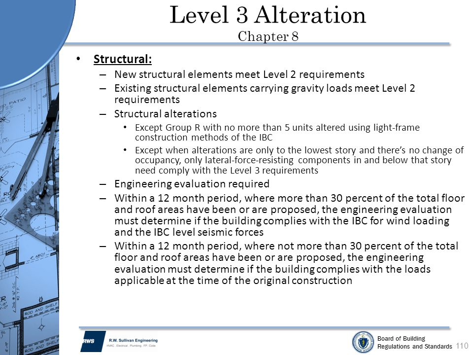 Board of Building Regulations and Standards Structural: – New structural elements meet Level 2 requirements – Existing structural elements carrying gr