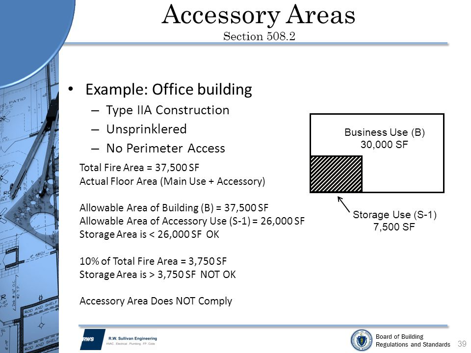 Board of Building Regulations and Standards Accessory Areas Section 508.2 Example: Office building – Type IIA Construction – Unsprinklered – No Perime