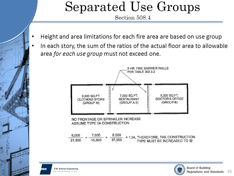 Board of Building Regulations and Standards Separated Use Groups Section 508.4 Height and area limitations for each fire area are based on use group I