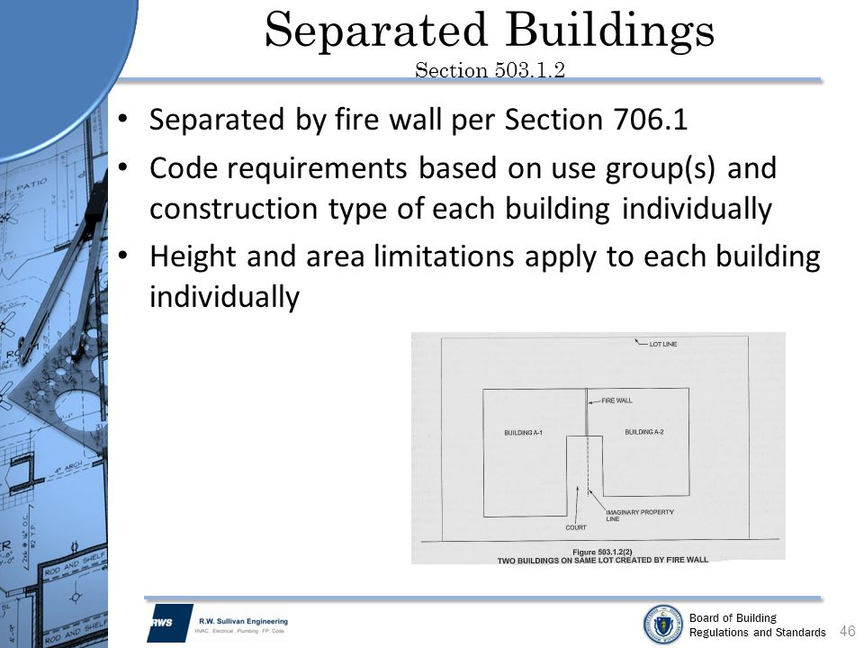 Board of Building Regulations and Standards Separated Buildings Section 503.1.2 Separated by fire wall per Section 706.1 Code requirements based on us