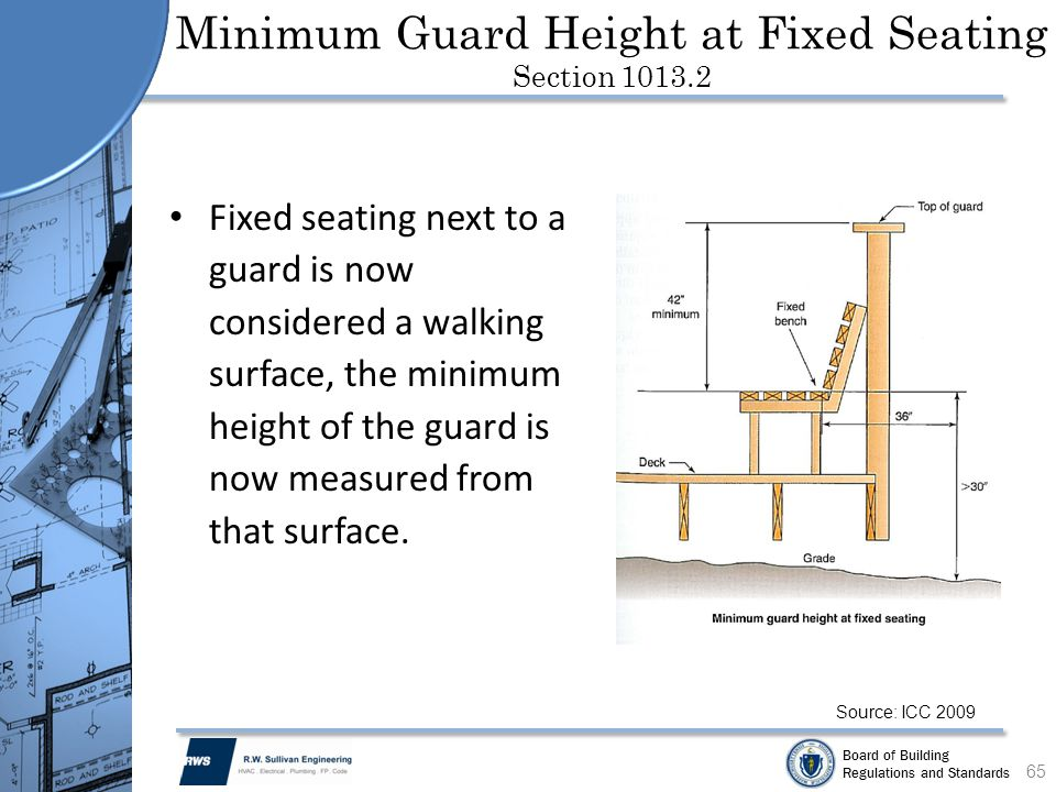 Board of Building Regulations and Standards Minimum Guard Height at Fixed Seating Section 1013.2 Fixed seating next to a guard is now considered a wal
