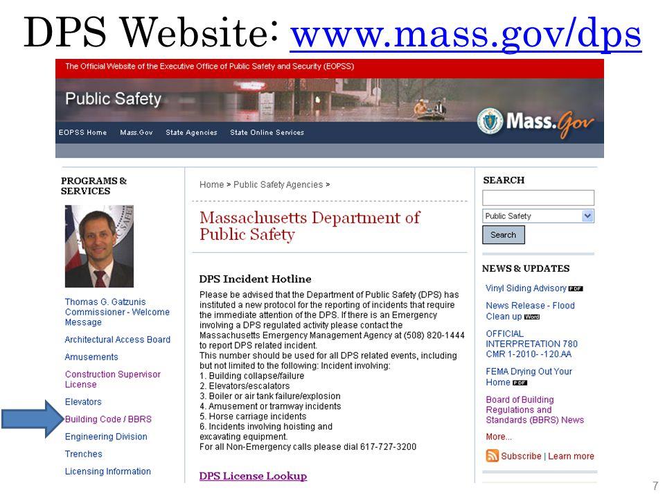 DPS Website: Building Code 8