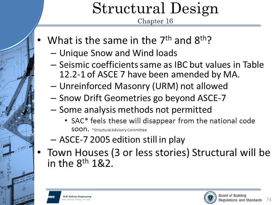 Board of Building Regulations and Standards Structural Design Chapter 16 What is the same in the 7 th and 8 th ? – Unique Snow and Wind loads – Seismi