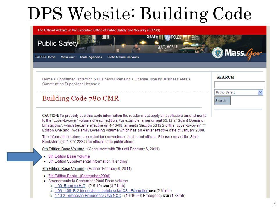 Board of Building Regulations and Standards DPS Website: Building Code 9