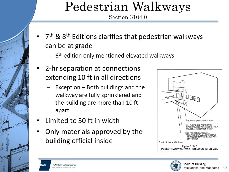 Board of Building Regulations and Standards Pedestrian Walkways Section 3104.0 7 th & 8 th Editions clarifies that pedestrian walkways can be at grade
