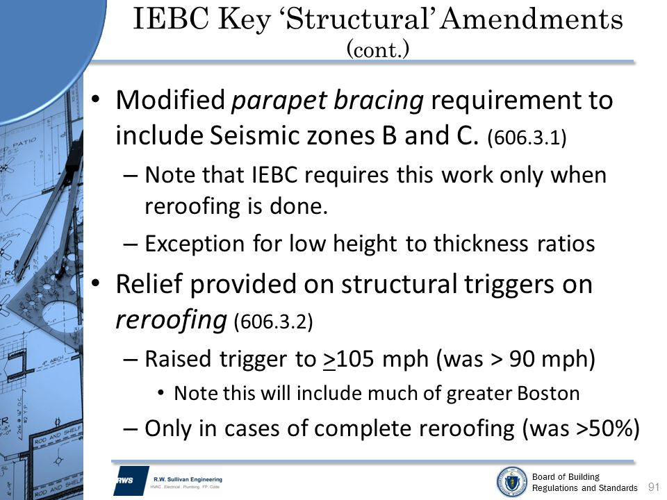 Board of Building Regulations and Standards Modified parapet bracing requirement to include Seismic zones B and C. (606.3.1) – Note that IEBC requires