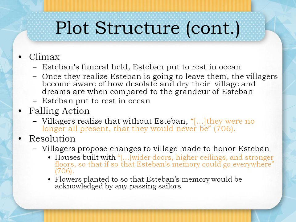 Plot Structure (cont.) Climax –Estebans funeral held, Esteban put to rest in ocean –Once they realize Esteban is going to leave them, the villagers be