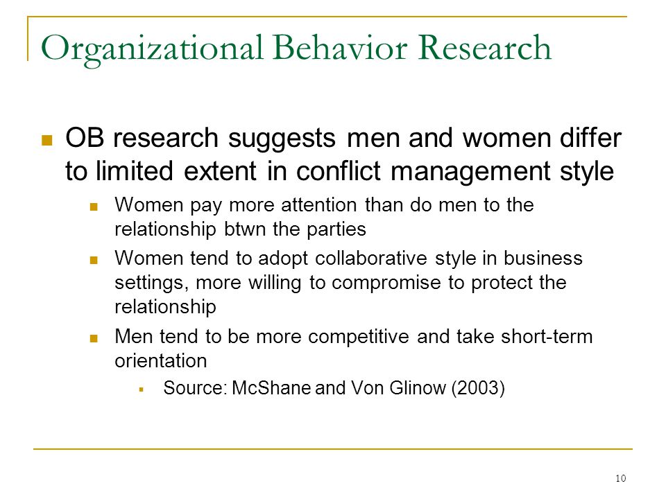 10 Organizational Behavior Research OB research suggests men and women differ to limited extent in conflict management style Women pay more attention than do men to the relationship btwn the parties Women tend to adopt collaborative style in business settings, more willing to compromise to protect the relationship Men tend to be more competitive and take short-term orientation Source: McShane and Von Glinow (2003)