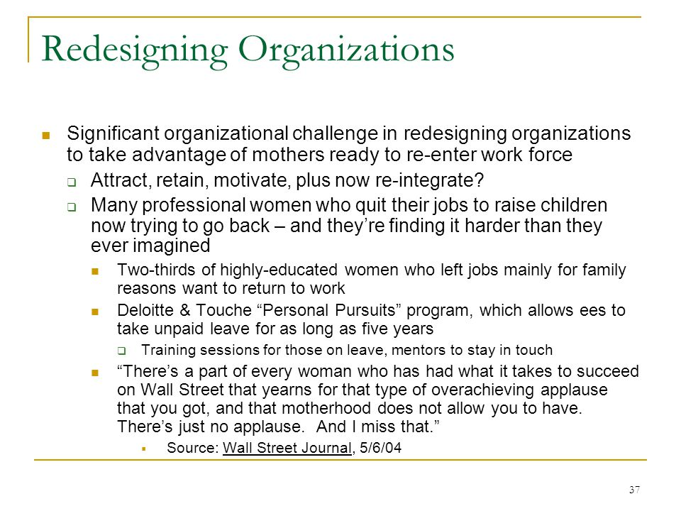37 Redesigning Organizations Significant organizational challenge in redesigning organizations to take advantage of mothers ready to re-enter work force Attract, retain, motivate, plus now re-integrate.