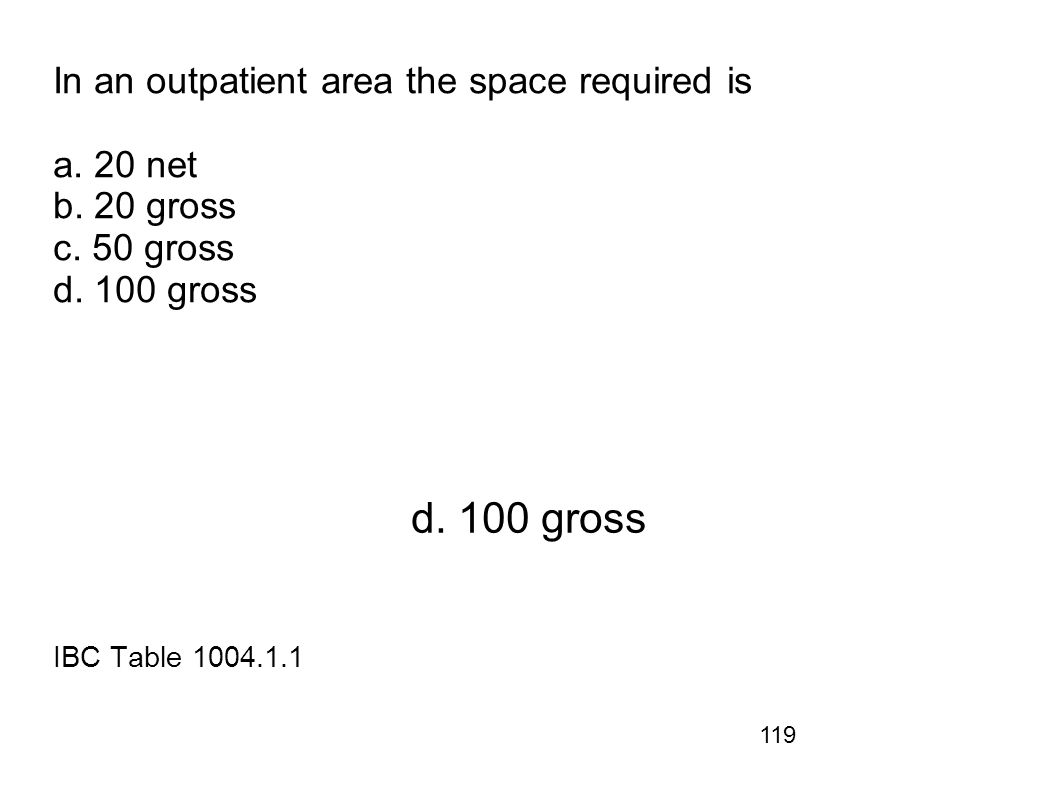 119 In an outpatient area the space required is a. 20 net b. 20 gross c. 50 gross d. 100 gross d. 100 gross IBC Table 1004.1.1