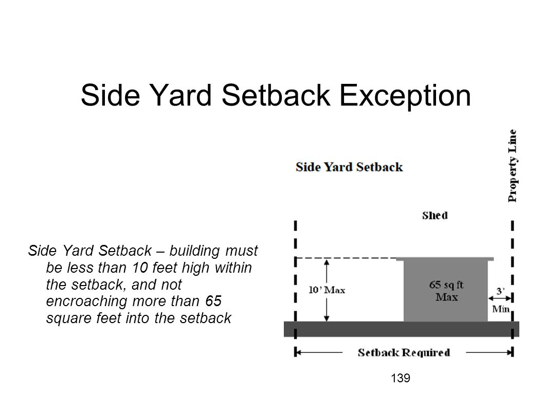 139 Side Yard Setback Exception Side Yard Setback – building must be less than 10 feet high within the setback, and not encroaching more than 65 squar