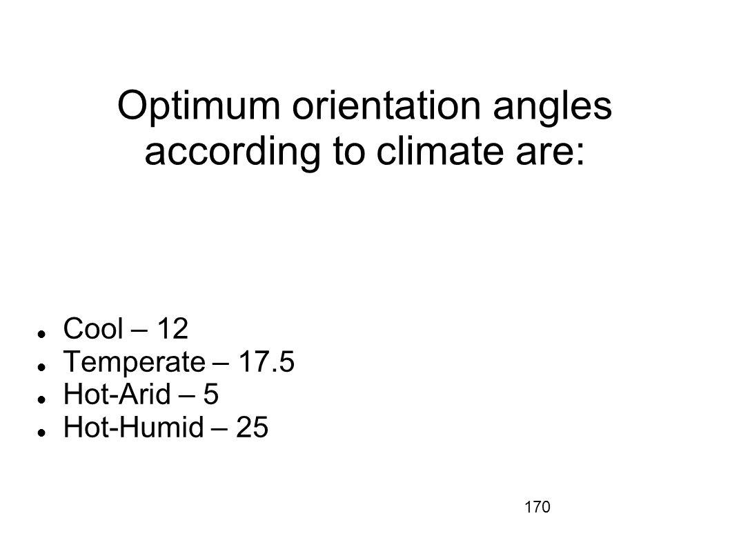 170 Optimum orientation angles according to climate are: Cool – 12 Temperate – 17.5 Hot-Arid – 5 Hot-Humid – 25