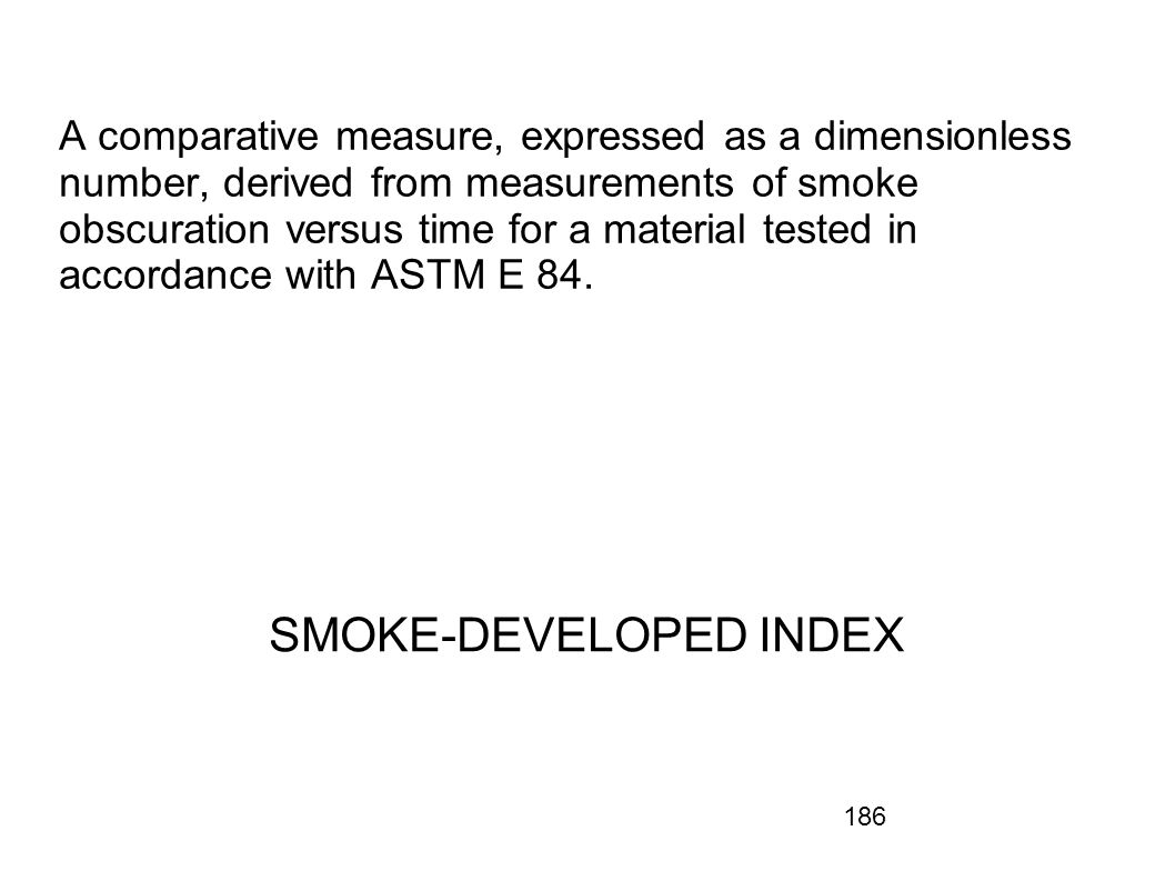 186 A comparative measure, expressed as a dimensionless number, derived from measurements of smoke obscuration versus time for a material tested in ac