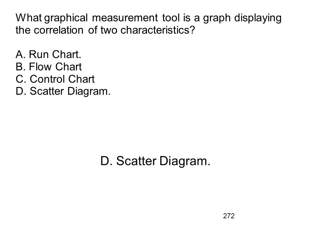 272 What graphical measurement tool is a graph displaying the correlation of two characteristics? A. Run Chart. B. Flow Chart C. Control Chart D. Scat