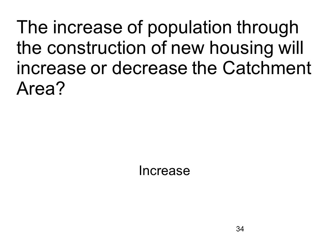 34 The increase of population through the construction of new housing will increase or decrease the Catchment Area? Increase