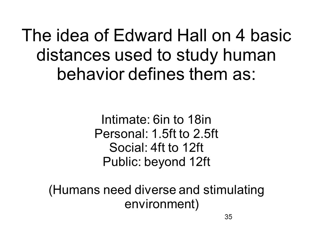35 The idea of Edward Hall on 4 basic distances used to study human behavior defines them as: Intimate: 6in to 18in Personal: 1.5ft to 2.5ft Social: 4