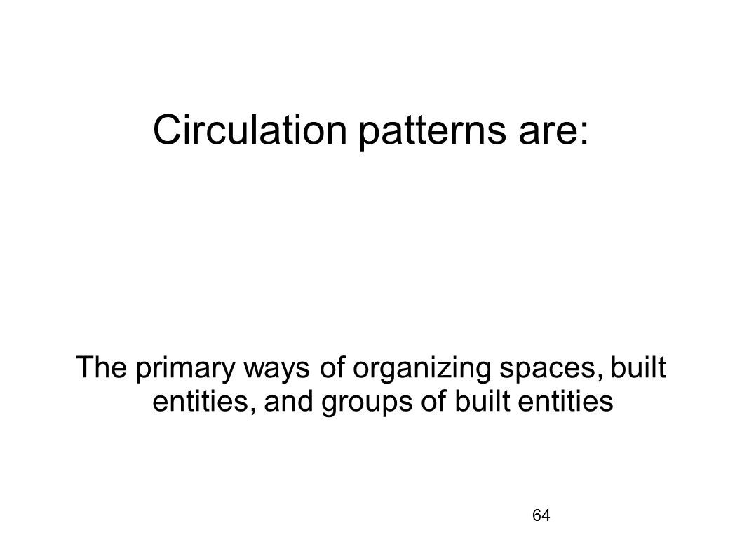 64 Circulation patterns are: The primary ways of organizing spaces, built entities, and groups of built entities