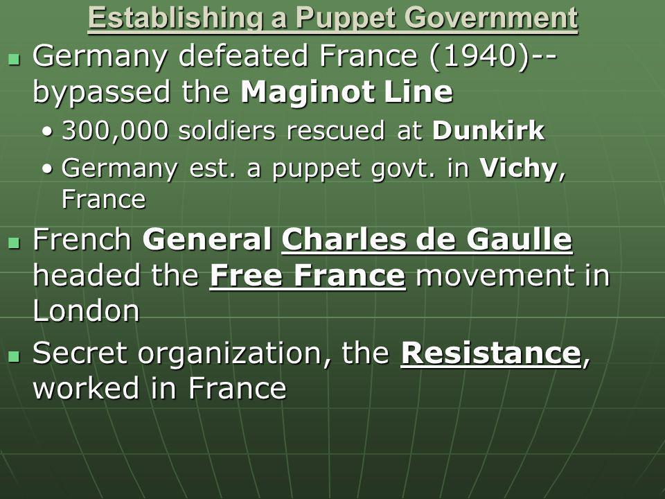 Establishing a Puppet Government Germany defeated France (1940)-- bypassed the Maginot Line Germany defeated France (1940)-- bypassed the Maginot Line