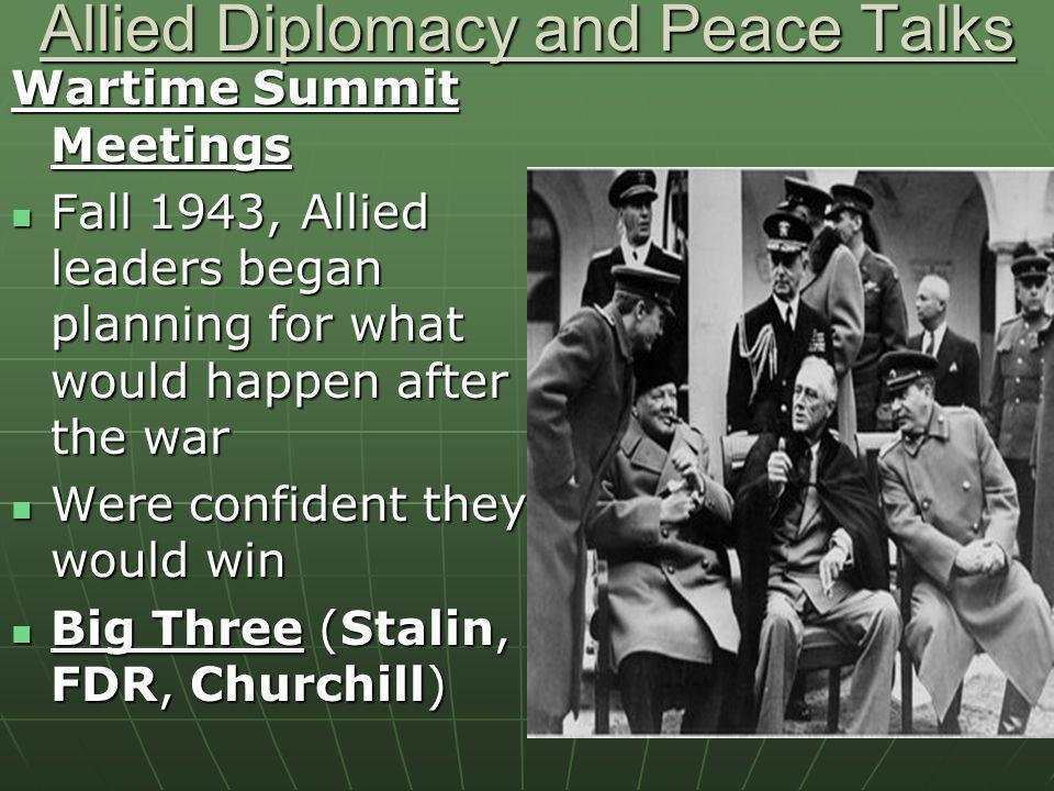 Allied Diplomacy and Peace Talks Wartime Summit Meetings Fall 1943, Allied leaders began planning for what would happen after the war Fall 1943, Allie