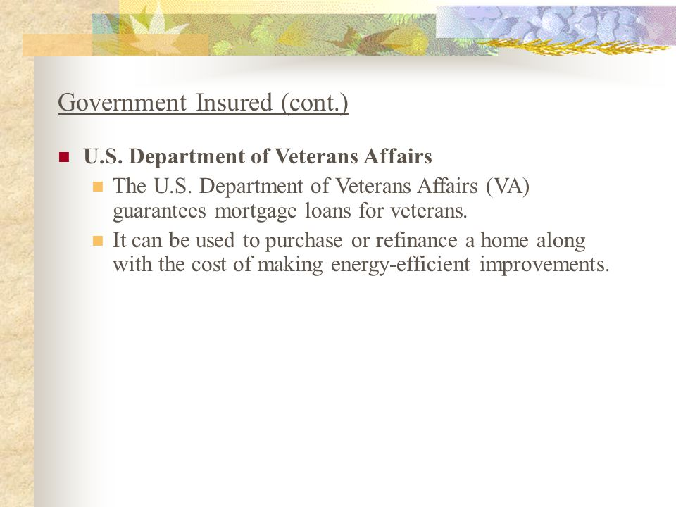 Government Insured (cont.) U.S. Department of Veterans Affairs The U.S. Department of Veterans Affairs (VA) guarantees mortgage loans for veterans. It