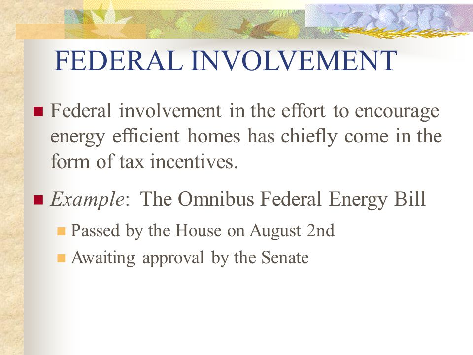 FEDERAL INVOLVEMENT Federal involvement in the effort to encourage energy efficient homes has chiefly come in the form of tax incentives. Example: The