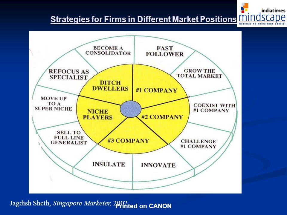 Printed on CANON Strategies for Firms in Different Market Positions Jagdish Sheth, Singapore Marketer, 2002