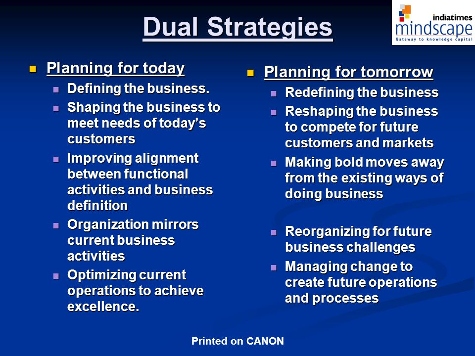 Printed on CANON Dual Strategies Planning for today Planning for today Defining the business.