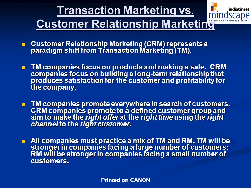 Printed on CANON Transaction Marketing vs.