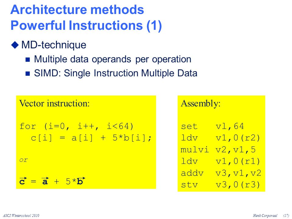 ASCI Winterschool 2010Henk Corporaal(17) Architecture methods Powerful Instructions (1) MD-technique Multiple data operands per operation SIMD: Single Instruction Multiple Data Vector instruction: for (i=0, i++, i<64) c[i] = a[i] + 5*b[i]; or c = a + 5*b Assembly: set vl,64 ldv v1,0(r2) mulvi v2,v1,5 ldv v1,0(r1) addv v3,v1,v2 stv v3,0(r3)