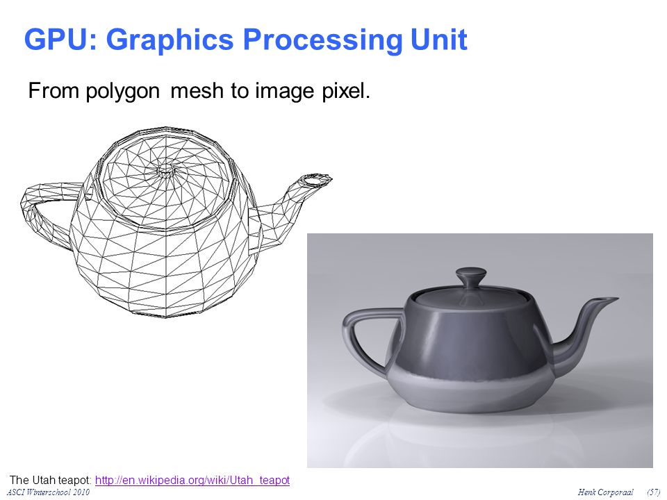 ASCI Winterschool 2010Henk Corporaal(57) GPU: Graphics Processing Unit The Utah teapot:   From polygon mesh to image pixel.