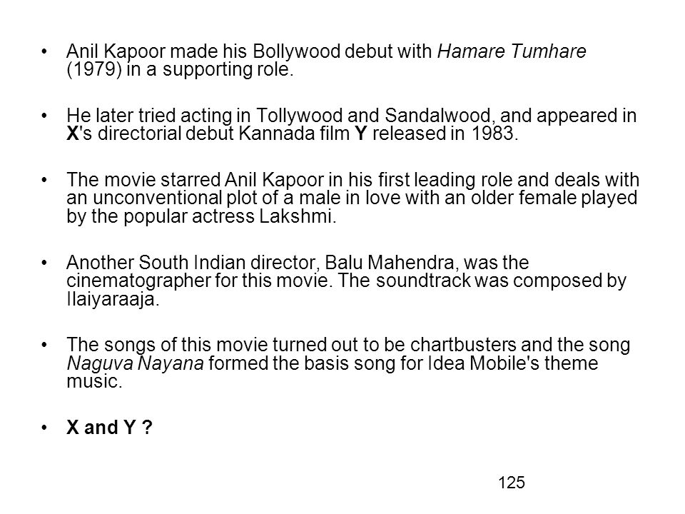 125 Anil Kapoor made his Bollywood debut with Hamare Tumhare (1979) in a supporting role. He later tried acting in Tollywood and Sandalwood, and appea