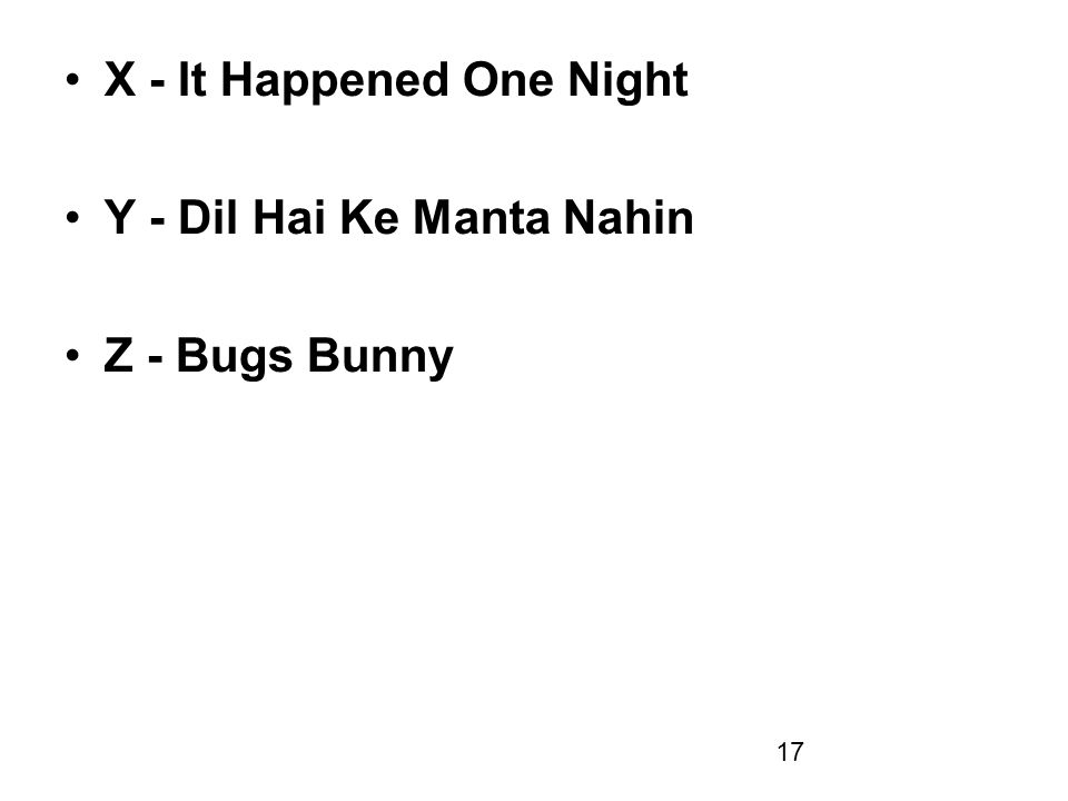 17 X - It Happened One Night Y - Dil Hai Ke Manta Nahin Z - Bugs Bunny